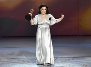 Alex Borstein accepts the Outstanding Supporting Actress in a Comedy Series award for 'The Marvelous Mrs. Maisel'.