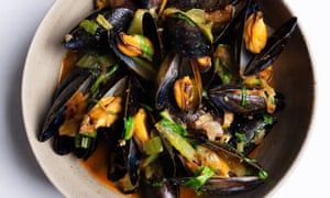 Spice of life: mussels with pak choi and chilli.