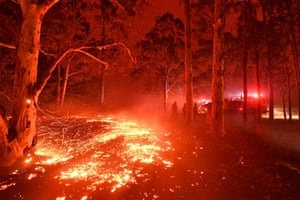 Burning embers cover the ground as firefighters battle bushfires around the town of Nowra on the New South Wales south coast.
