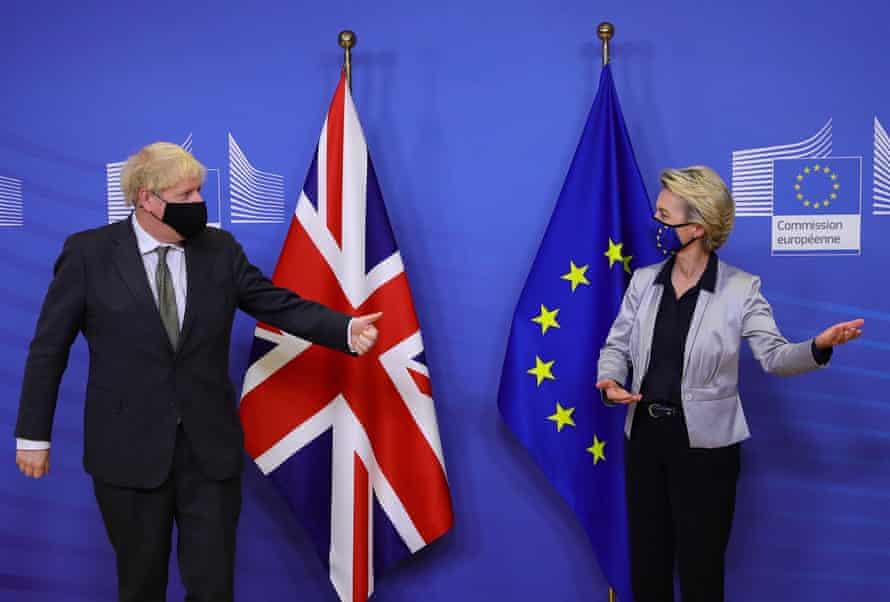 Boris Johnson with EU chief Ursula von der Leyen