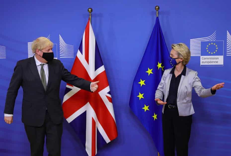 Boris Johnson and Ursula von der Leyen at the EU headquarters in Brussels, 9 December