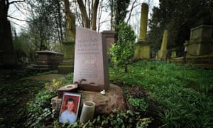Alexander Litvinenko's grave in Highgate Cemetery in London.