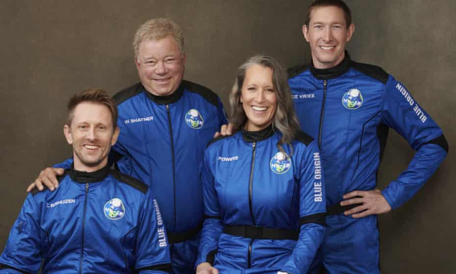 Shatner, second left, with his New Shepard rocket colleagues Chris Boshuizen, Audrey Powers and Glen de Vries. The rocket will lift off at 8.30am Texas time.