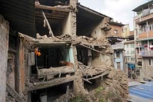 A damaged building stands untouched since the earthquake in Nepal