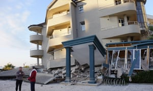 A damaged hotel in Durres