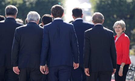 Theresa May with EU leaders in Salzburg last week.