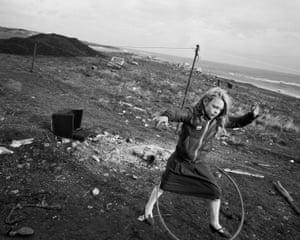 Helen and her hula-hoop, Lynemouth, Northumberland, 1984