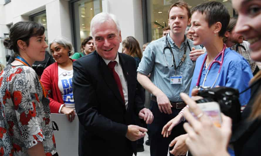 John McDonnell meets NHS staff during a roundtable event with NHS staff in central London.