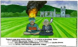 Steve Bell cartoon 30.7.21: Queen and Prince Charles sit in palace grounds over poem about pollution