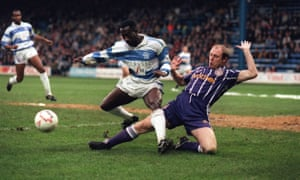 Steve McMahon, right, in action for Manchester City against Queens Park Rangers in the fourth-round of the FA Cup in January 1993. City won the tie 2-1