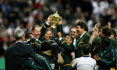 Getting his hands on the Webb Ellis Cup with the Springboks in 2007 after being hired as a consultant.