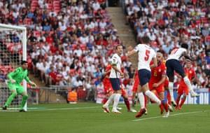 Bukayo Saka of England scores his team's fourth goal.