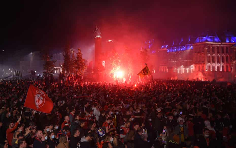 The scene in Lille after the game.