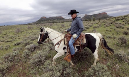 Ryan Zinke on his horse in the Bears Ears national monument in Utah. Whether Trump succeeds in changing the shape of America's public lands could depend on Zinke.