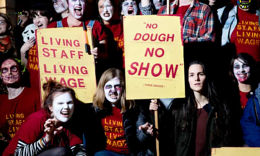 Bectu members at the Ritzy cinema in Brixton stage a Halloween-themed protest during Living Wage Week, 2016.