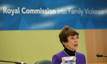 Commissioner Marcia Neave gives her opening remarks at the opening of the royal commission into family violence in Melbourne.