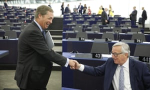 Nigel Farage, left, and EC president Jean-Claude Juncker in the European parliament