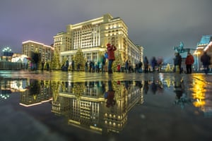 Manezhnaya Square in Moscow, Russia, is decorated for the festive season