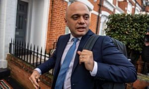 Sajid Javid arrives home after quitting as chancellor.