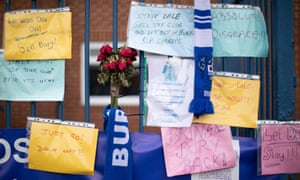 Messages left by Bury supporters attached to railings outside the club's Gigg Lane ground following their expulsion from the English Football League.