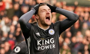 Leicester City's Jamie Vardy looks dejected after his penalty is saved.