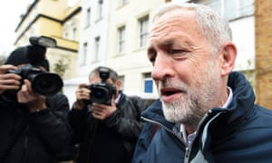Labour leader Jeremy Corby outside his home before last week's vote on Syrian airstrikes.