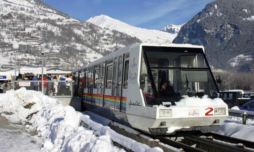 Funicular railway from Bourg St Maurice to Les Arcs ski resort.