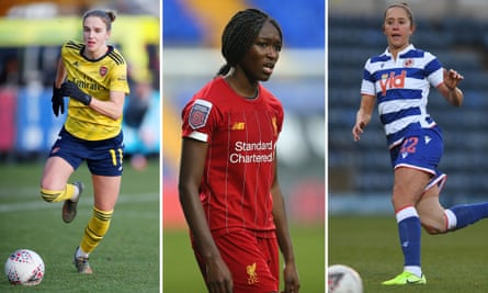 Vivianne Miedema of Arsenal, Liverpool's Rinsola Babajide and Jo Potter of Reading.