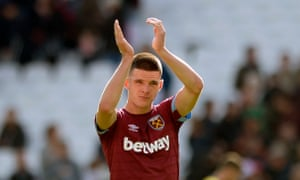Declan Rice applauds the West Ham United fans after Sunday's draw with his first club, Chelsea.