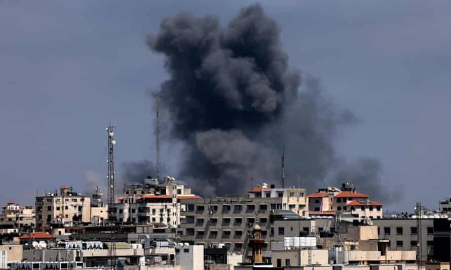 Smoke billows after Israeli airstrikes on Gaza City on Wednesday