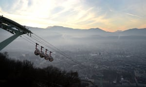 A view of Grenoble, eastern France, through a haze of pollution.