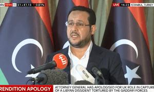 Abdel Hakim Belhaj speaking at a press conference in Turkey
