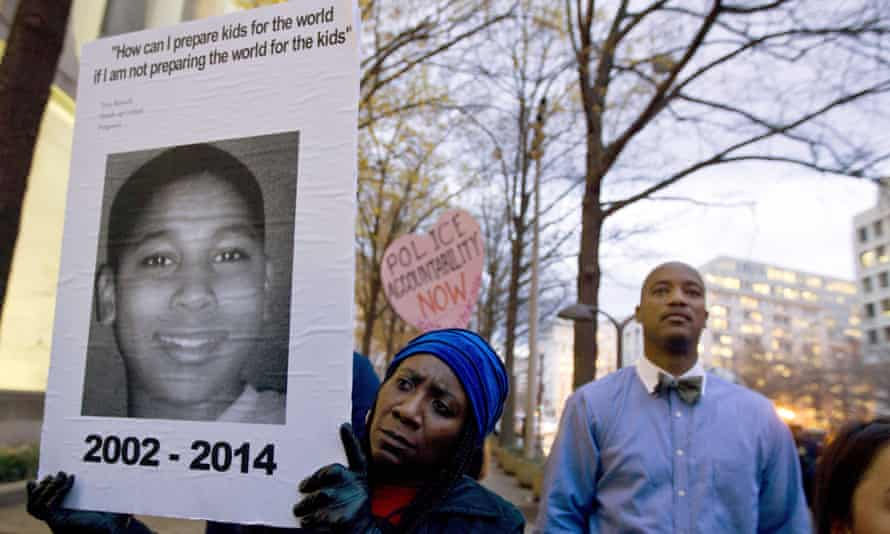 Tamir Rice, 12, is remembered during a protest about the shooting in Washington, US.