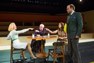 Sian Thomas (Mrs Grace), Steven Beard (Uncle Albert), Suzy King (Faye) and Rory Kinnear (Josef K) in The Trial at the Young Vic.
