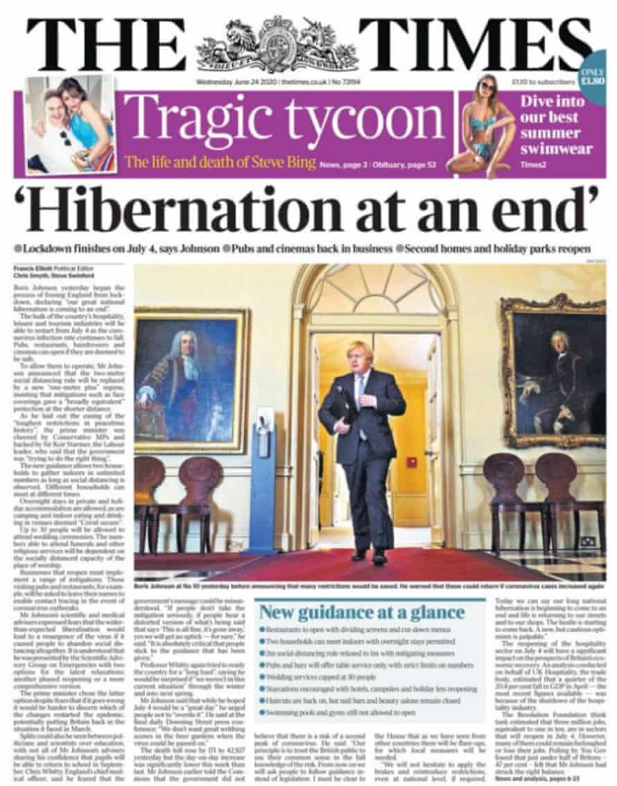 Times UK front page 24 June 2020