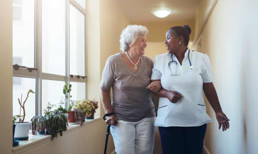care worker and senior woman