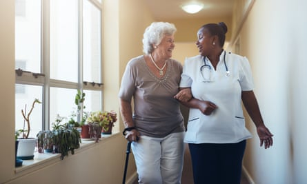 A resident and care worker at a care home