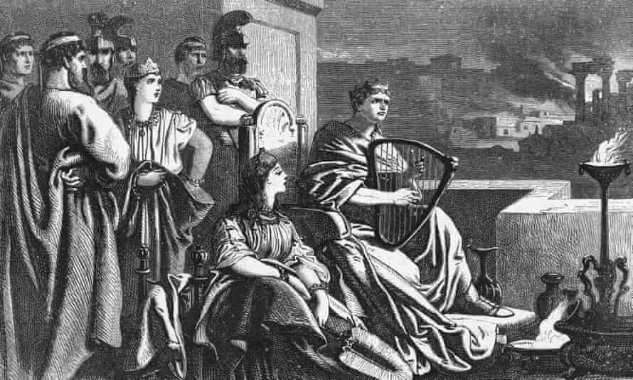 An illustration of Nero playing the harp while Rome burns.