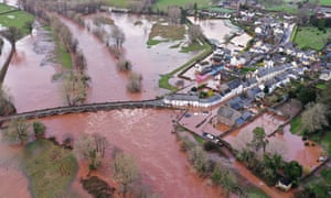 An aerial view of the Welsh village of Crickhowell which has been cut off as the river Usk bursts its banks.
