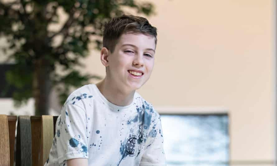 Mason Kettley, 15, one of the first patients to undergo proton beam therapy in the UK.