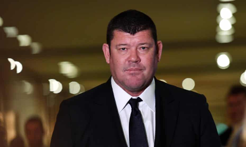 James Packer leaves the Crown Resorts AGM, at which he was questioned by anti-pokies activists.