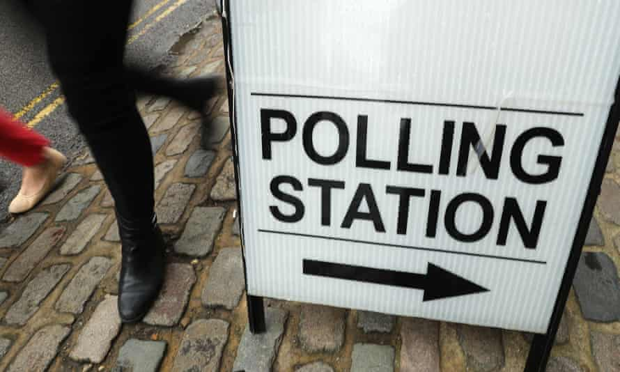 Polling station sign.