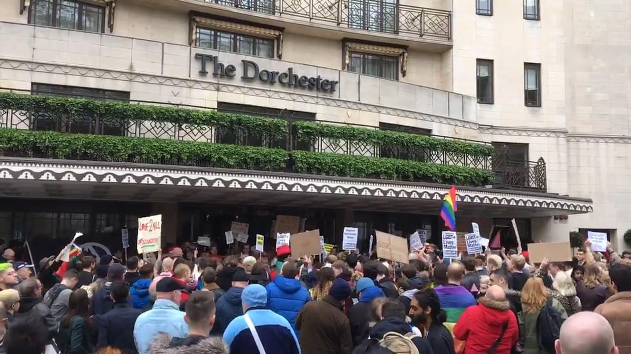 'Shame on you': protesters demonstrate at Dorchester Hotel against Brunei  anti-LGBT laws - video