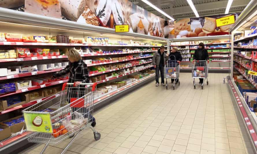 Shoppers in a supermarket in the Czech Republic