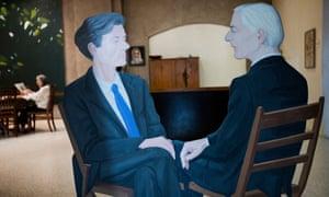 'My work rate has gone insane' … Katz's wife, Ada, sits amid his work.