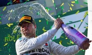 Valtteri Bottas celebrates beating his Mercedes teammate Lewis Hamilton.