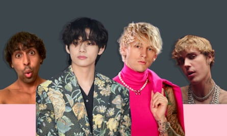 'It's a beautiful thing': (left to right) Brian J Patterson, Kim Taehyung, Machine Gun Kelly, Justin Bieber.
