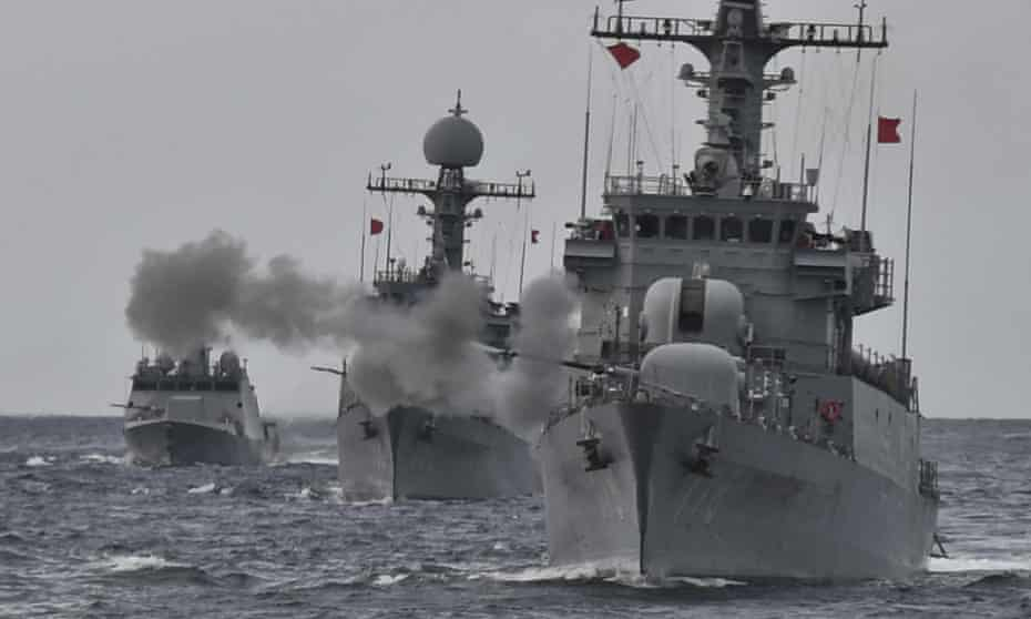South Korean navy ships carry out a live fire exercise lsst week.