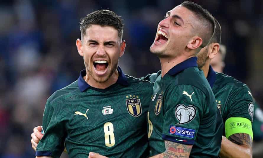 Jorginho (left) and Marco Verratti are a key partnership in Italy's midfield.