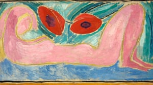 Vanessa Bell, Nude with Poppies, (1916).